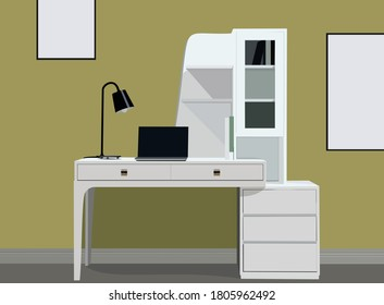 Graphics designer desk with laptop vector illustration. Beautiful office work space furniture poster on wall mock-up vector.