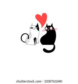 Graphics of enamored cats on a white background