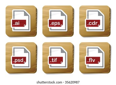 Graphics files icons. Vector icon set. Three color icons on cardboard tags.
