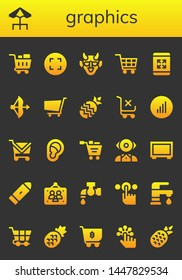 graphics icon set. 26 filled graphics icons.  Collection Of - Shopping cart, Terrace, Maximize, Hannya, Bow, Pineapple, Bars graphics, Ear, Mentalist, Big screen, Bullet, Picture frames