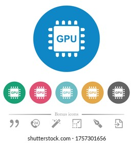 Graphics processing unit flat white icons on round color backgrounds. 6 bonus icons included.