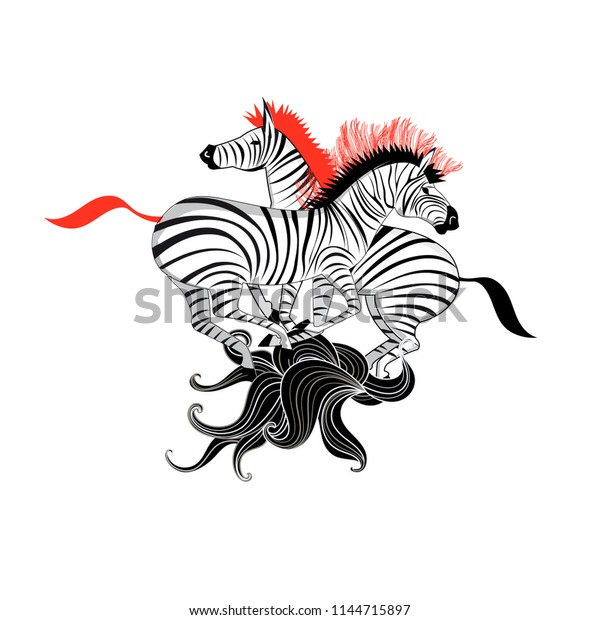 Graphics super beautiful zebra on white background