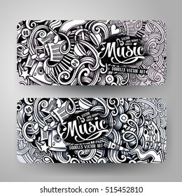 Graphics vector hand drawn sketchy trace Music Doodle horizontal banner. Design templates set