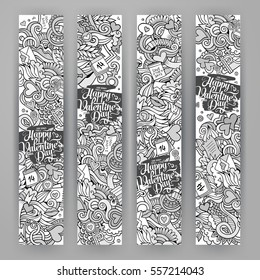 Graphics vector hand-drawn Love and Valentines Doodle. 4 vertical line art banners design templates set