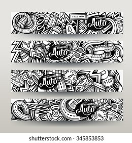 Graphics vector hand-drawn sketchy trace Automotive Doodle. Horizontal banners design templates set