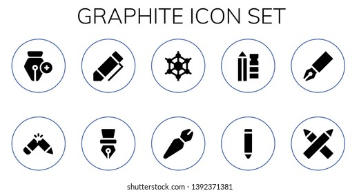 graphite icon set. 10 filled graphite icons.  Collection Of - Pen, Pencil, Graphene, Pencils