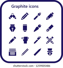 graphite icon set. 16 filled graphite icons. Simple modern icons about  - Pencil, Pen, Colored pencils