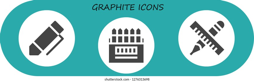 graphite icon set. 3 filled graphite icons. Simple modern icons about  - Pen, Colored pencils, Pencil