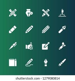 graphite icon set. Collection of 16 filled graphite icons included Pen, Pencil