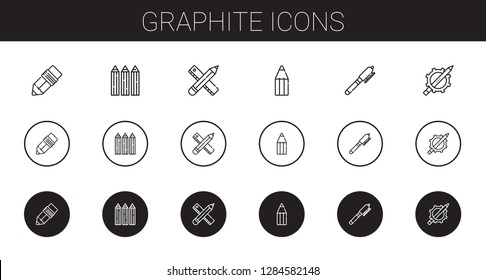 graphite icons set. Collection of graphite with pen, pencils, pencil. Editable and scalable graphite icons.