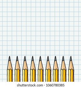 Graphite pencils border over squared notebook page. Stationery hand drawn vector doodle illustration blank frame.