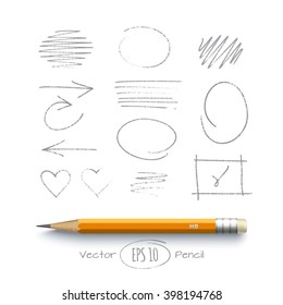 Graphite yellow pencil with collection of graphic elements. Handdrawn sketch on a paper. Arrows, frames, strokes and hearts isolated on a white background