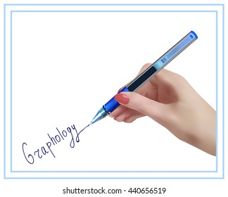 Graphology. The science studying character of the person on handwriting. Handwriting studying.