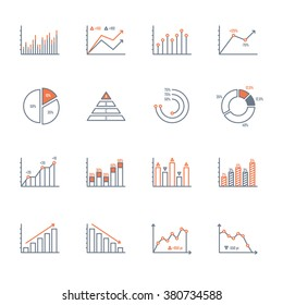 graphs and charts thin line icons set. data elements, bar and pie, diagrams for business infographics. visualization of data statistic and analytics. isolated on white background. vector illustration