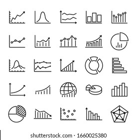 Graphs and diagram outline vector icons isolated on white background. Charts line icon set for web, mobile apps, ui design and print products. Business infographic illustrations