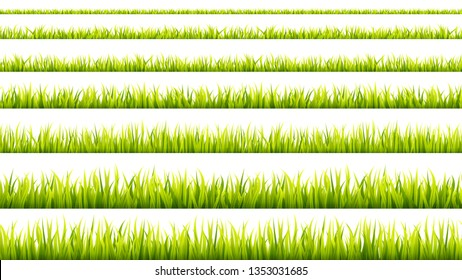 Grass banner. Cereal sprouts. Springtime growth greenery. Green turf overlay stripes.
