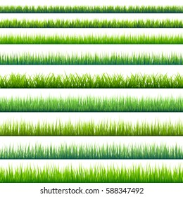 Grass banners set. Nature background. Meadow. Spring, summer season. Plant growth. Green.