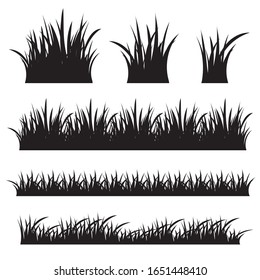 Grass black silhouette isolated on white background.