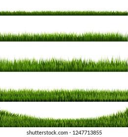 Grass Border Big Collection, Vector Illustration