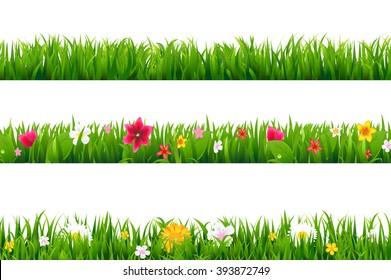Grass Borders Set With Gradient Mesh, Vector Illustration