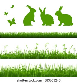 Grass Borders Set With Rabbits