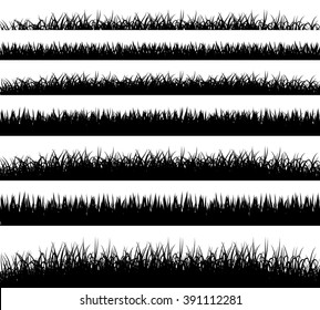 Grass borders silhouette on white background vector