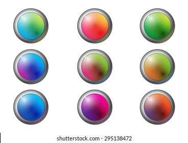 grass circle button set vector