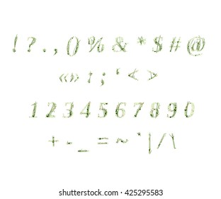 Grass decorated font - numbers and sighs
