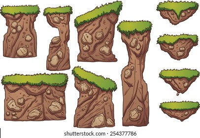 Grass and dirt platforms. Vector clip art illustration with simple gradients. Each element on a separate layer.