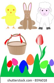 Grass with easter animal, wicker basket and eggs