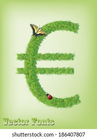Grass Euro money sign as vector