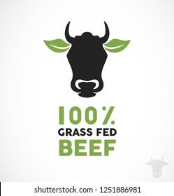 Grass Fed Beef Icon & Logo Illustration. 100% Organic Meat Modern Vector