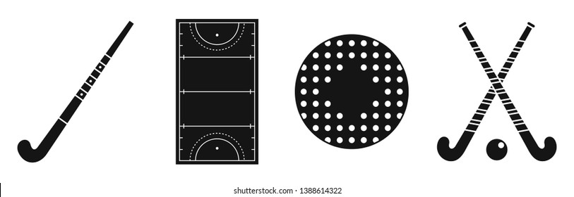 Grass field hockey icons set. Simple set of grass field hockey vector icons for web design on white background