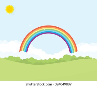 grass field with rainbow on background