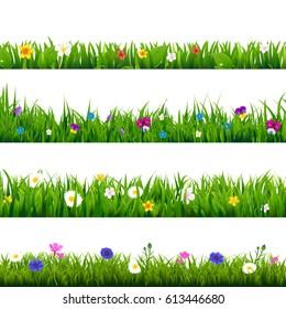 Grass And Flowers Border Set With Gradient Mesh, Vector Illustration
