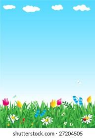 Grass and flowers spring vertical vector background ( for high res JPEG or TIFF see image 27204508 )