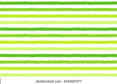 Grass green chalk, pastel, crayon drawn stripes background. Seamless vector striped rectangle pattern. Parallel hand drawn wide bars, streaks, lines endless eco, vegan texture. Textured rough edge.