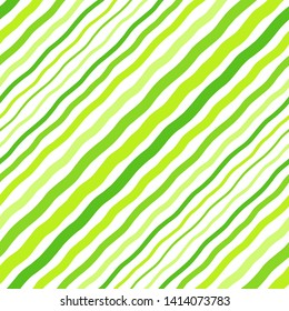 Grass green diagonal wavy stripes of different width, waves seamless repeat eco, vegan background. Oblique hand drawn crooked lines, inclined, tilted streaks, strips, bars pattern. Striped texture.