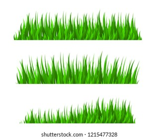 Grass herb fodder nature decor green vector set isolated vector illustration