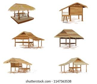 grass hut on white background vector design