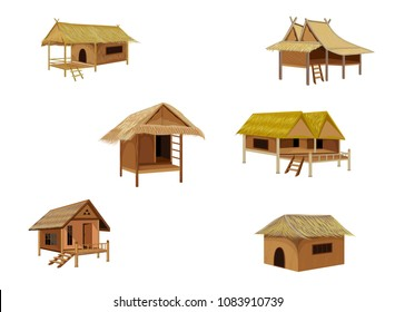 grass hut vector desing
