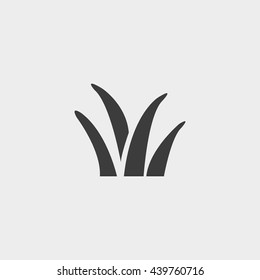 grass icon in a flat design in black color. Vector illustration eps10