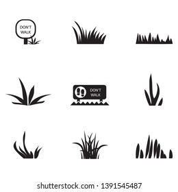Grass Icons Set - Isolated On White Background. Grass Vector Illustration. Flat Plant Vector For Logo Design, Lawn Symbol, Herbal And Park Design. Cartoon Style