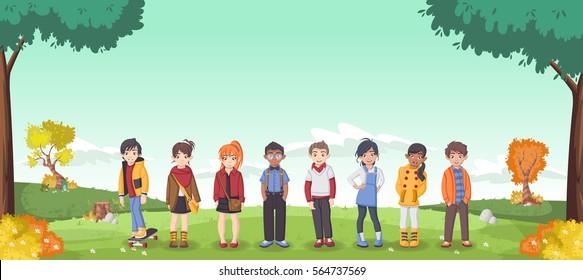 Grass landscape with cute cartoon kids.