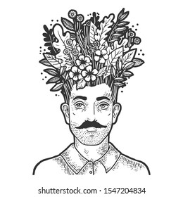 Grass and leaves on head sketch engraving vector illustration. T-shirt apparel print design. Scratch board style imitation. Black and white hand drawn image.