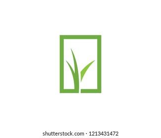 Grass logo vector template