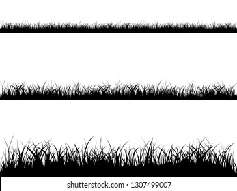 Grass meadow border vector pattern. Spring or summer plant field lawn. Black and white grass background