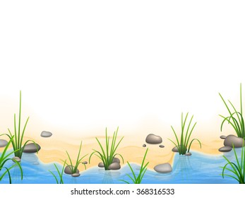Grass and pebbles on a river bank. Vector realistic nature background.