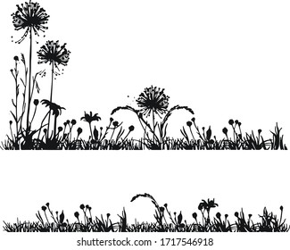 grass silhouette. Cartoon lines of plants and shrubs for boarding and framing, eco and organic logo element. Vector set spring field planting shapes lawn or borders garden