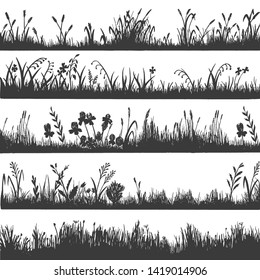 Grass silhouette design, natural environment herb border. Floral panorama. Vector grass illustration on white background